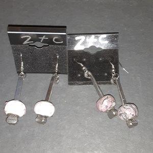 2 Pair of Horseshoe Nail Earrings w/Beads